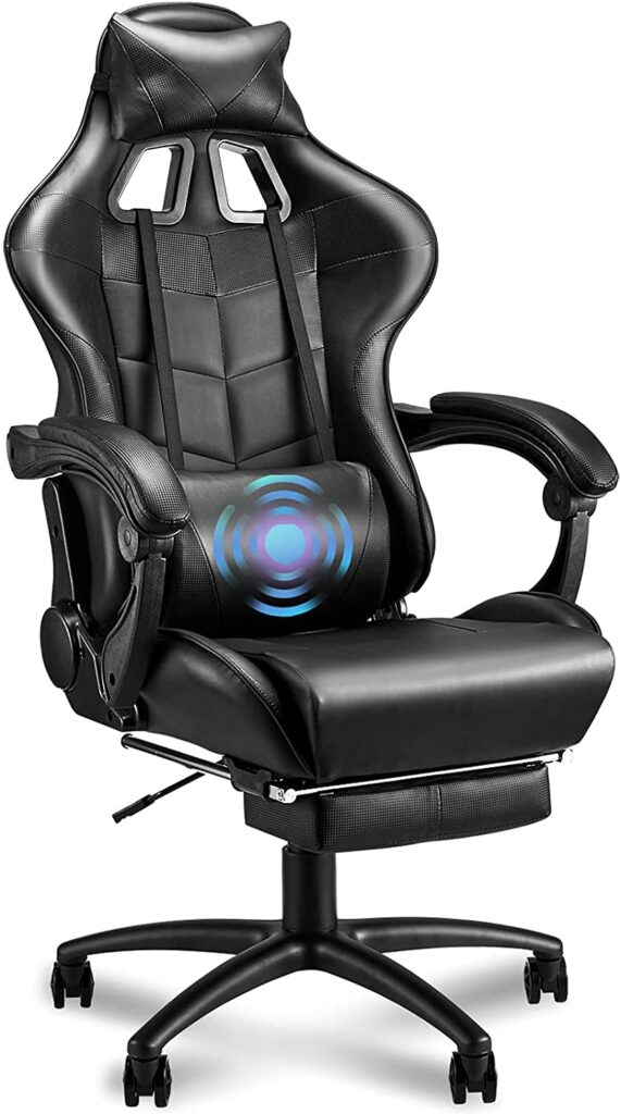 Soontrans Black Gaming Chair Massage for Big and Tall Person 400lbs