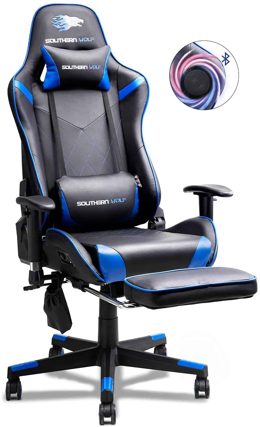 blue gaming chair with speakers