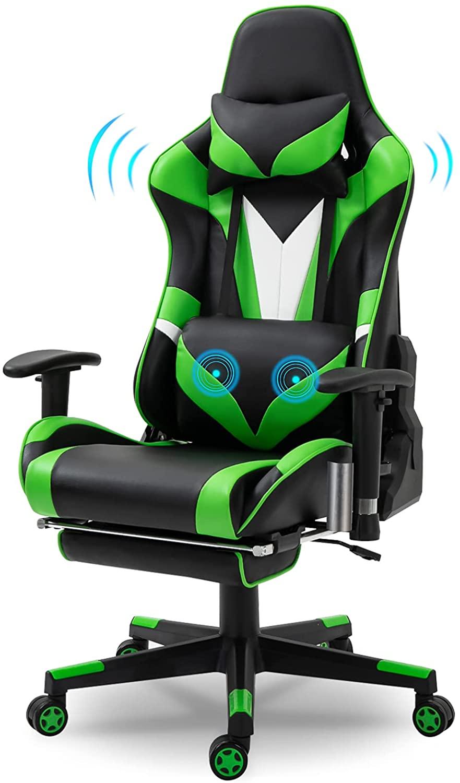 ORISTUS Green Ergonomic Massage Gaming Chair